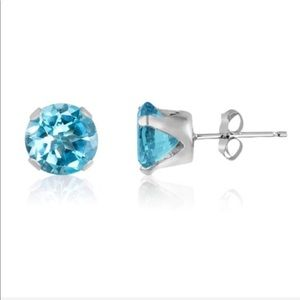 Round Cut Natural Blue Topaz Earrings